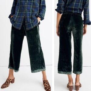 Madewell Green Velvet Swingy Wide Leg Pants - NWT